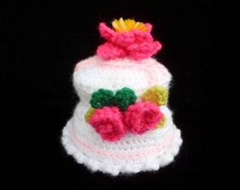 Amigurumi Crochet Wedding Cake - Silver Golden Anniversary Gift - Pretend Play