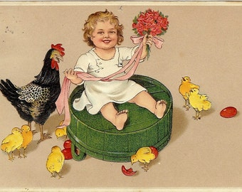 Little Easter Girl - Hen and Chickens - Easter Card - 1910s Antique Postcard - Carte Postale - Easter Drawing - Paper Ephemera - Used