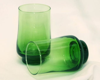 Set of 2 Stemless Wine Glass Wine Glasses Vintage,Soviet tableware,glass green applied,Water Glasses Stemless , Glass Candle Holders