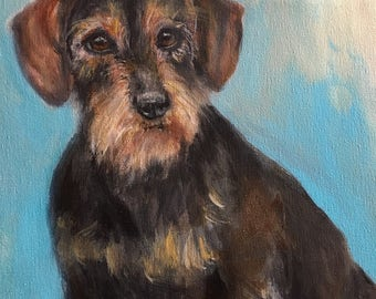 Dachsund painting, wirehaired dachsund painting, original dachsund portrait, wire haired dachsund,