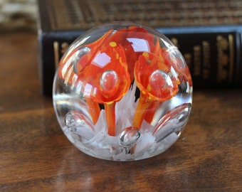 Glass Floral Paperweight