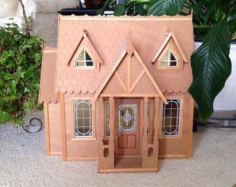 "Vintage Two Story  Wood Dollhouse (1990's)  16"" W x 12"" D x 17""H"