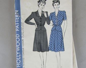 Uncommon 1940s Hollywood Pattern #1216 for Women's Size 18 Two-Piece Dress
