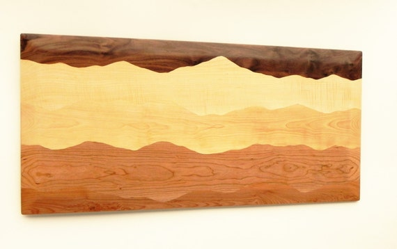 Mountain wall art /Black walnut, Tiger maple, Curly birch, Cherry, Red birch/