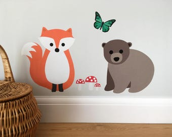 Woodland Animals Wall Stickers, Forest Animals Decals, Fox Wall Sticker, Bear Wall Sticker, Butterfly, Toadstools, Nursery Wall Stickers