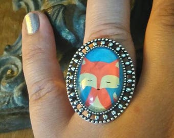 """ring oval silver color """"Red Fox"""""""