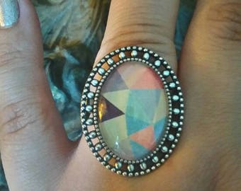 ring oval silver geometric