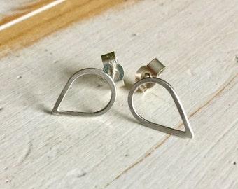 Silver Teardrop Studs, Teardrop Earrings, Silver Teardrop Studs, Sterling Silver Teardrop Earrings, Geometric Shaped Earrings, Everyday Wear