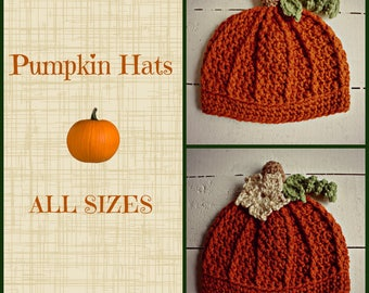 Crochet Pumpkin Hats, Fall Baby Hats, Fall Kids Hats, Fall Adult Hats, Halloween Hats, Halloween Costumes, Fall Baby Gift, Baby Shower Gift