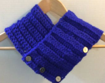 Blue scarf, Midnight blue cowl, Blue Neck Warmer, Ribbed Cowl, Royal Blue knit cowl, Buttoned cowl, Gift for her, Women's fashion, C