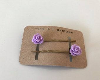 rose flower bobby pin pair, rose hair pin