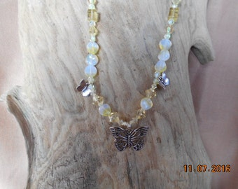 Beautiful Butterflies Flutter on this Lovely Yellow & White Necklace!