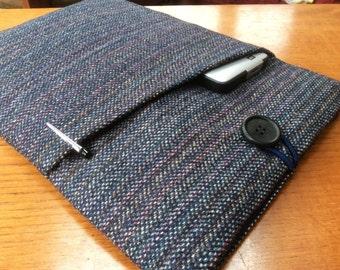 "MacBook 13"" Pro Air cover case, laptop sleeve, British tweed blue striped wool"