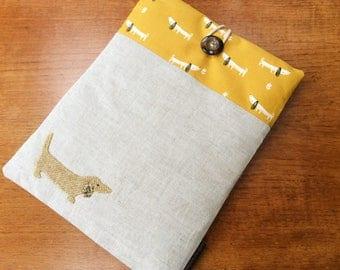 iPad Pro 9.7, iPad Air, iPad Air 2 case cover,  yellow dachshund applique