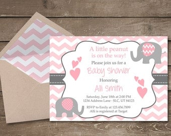 Elephant Baby Shower Invitation, It's a Girl, Elephant, Chevron, Pink, Little Peanut, Baby Shower Invitation, Girl Baby Shower