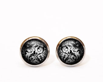 Dark Grey Boho Chic Earrings Black Flower Jewelry Jewellery Floral Earrings Black Dress Jewellery Prom Earrings Wife Gift, Dark Floral Studs