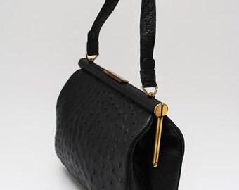 50s • Vintage • Ostrich Leather Bag • Top Handle Bag • Handbag • Leather Bag • Black Bag • Black Handbag • Black Top Handle Bag • 50s Purse