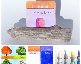 Waldorf calendar sets, perpetual calendar, classroom, montessori, waldorf, weather gnomes, four season cards, driftwood card holder