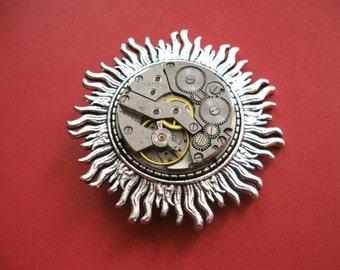 Steampunk sun brooch Gothic Victorian sun Steampunk jewelry Sun Pin Steampunk pin Steampunk badge Handmade steampunk Vintage brooch