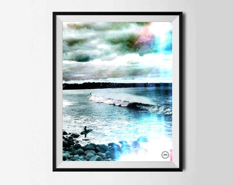 Donegal Surf Print,Ireland, Wall Decor, Wall Decor, The Wild Atlantic Way, Surf, Sea, lone surfer