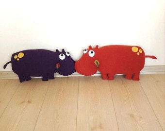 Hippopotamus, toddler toy, stuffed animal toy, soft kids toy, animal toy, toddler gift, stuffed toys, nursery decor,  gift for kids