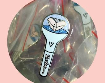 Seventeen Caratbong Lightstick Glitter Enamel Lapel Pin kpop Fanmade Badge Merchandise Carat 세븐틴 Cotton Candy Ocean SVT