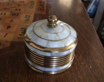 Vintage Brass and Mother of Pearl Trinket Box
