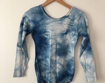 Blue Vintage Tie Dye Leotard/Bodysuit