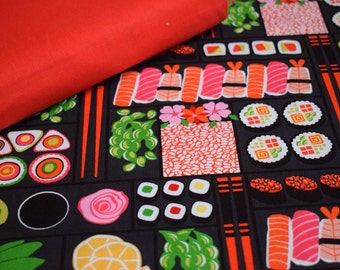 Bento box sushi prawn print cotton SUSHI SATURDAY OFFER