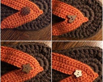 Ladies or Mens Flip Flop Slippers - Brown Colour Sole