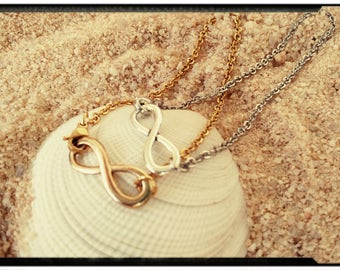 Infinity Bracelets - Gold or Silver//Stainless Steel Chain//Minimalist Design - Dainty Infinity Symbol/Gift for Her