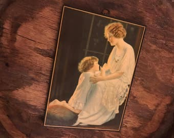 Vintage Wooden Hanging Wall Plaque Featuring Mother and Child Praying at Bedtime