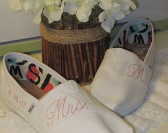 Bridal Shoes - Personalized Toms - Wedding Shoes