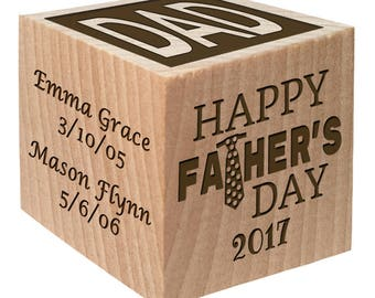 Last Minute Dad Gifts-Father's Day Special Wooden Keepsake Block Personalized Custom Engraved wooden baby blocks girl baby boy Children gift