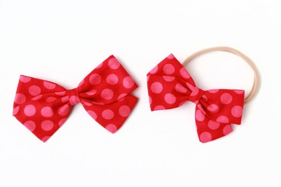 baby girl, toddler, fabric bow, nylon headband or clip, Red with pink dots