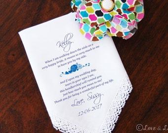 Wedding Handkerchief-PRINTED-Bridesmaid-Maid of Honor-Sister! FREE Gift Cases!!! Wedding Hankerchief-Gifts-Favors-Hankerchief-Wedding