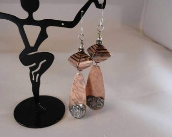 Lovely unique handmade copper etched and stamped silver solder mixed media Boho earrings