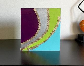 Beautiful Colorful Bohemian wooden custom tissue box cover/napkin holder- Magenta-Green-Blue-Silver- Gold- Sequins -Handmade
