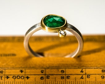Contemporary handmade rose cut emerald & diamond ring