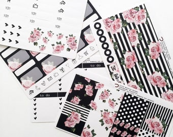 Black and White Floral stickers | HORIZONTAL