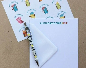 Personalised Owl Notepaper/Writing Paper Set