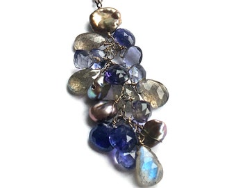 Iolite, Labradorite and Freshwater Pearl Necklace--Iolite Necklace--Labradorite Necklace--Labradorite Jewelry--Iolite Jewelry