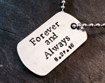 Dog tag necklace, personalised dog tag, mens necklace, mens jewellery, Father's day gift, daddy gift, daddy necklace, gift for daddy, dogtag