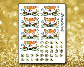 Adorable Fox Date Cover Stickers - Planner Stickers Erin Condren Life ECLP Stickers Happy Planner Cute Fox Stickers