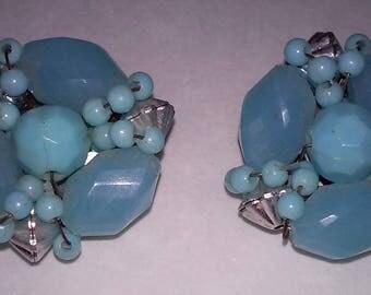Vintage Aquamarine beaded clip on Earrings