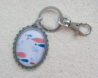 Key ring - Red fishes and blue waves