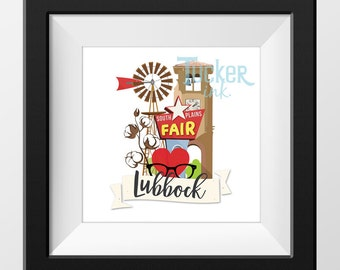 Lubbock, Texas Illustration {wall art gift print texas tech cotton decor windmill}
