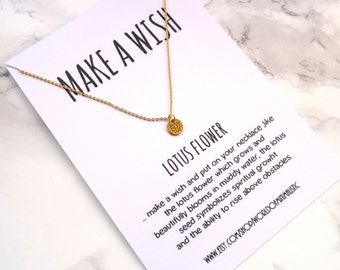 Tiny lotus flower necklace, minimalist dainty lotus flower necklace, lotus flower jewelry, namaste spiritual necklace, gold or silver