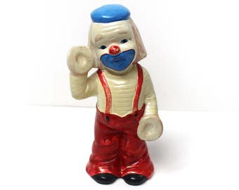 Vintage Plaster Clown Bank