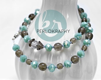 Glass Pearl Necklace ~ Mint ~.